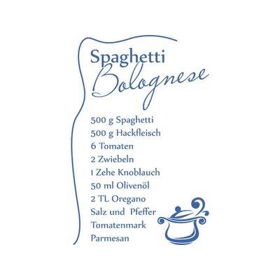 Graz Design Wandtattoo Rezept für Spaghetti Bolognese