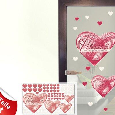 Graz Design Glastattoo-Set Home is where your heart is, Herzen