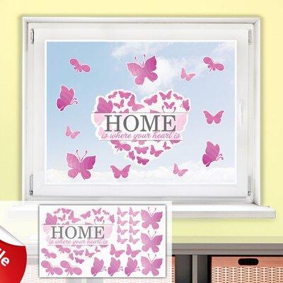 Graz Design Glastattoo-Set Home is where your heart is, Schmetterlinge