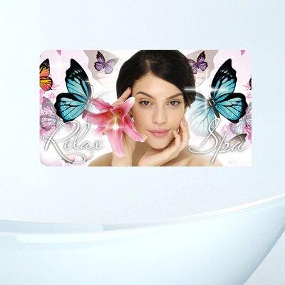 Graz Design Wandsticker Relax Spa, Frau, Blume, Schmetterlinge
