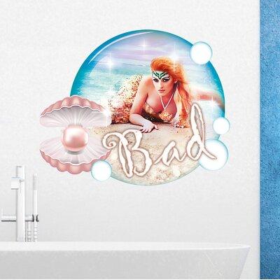 Graz Design Wandsticker Bad, Perle, Meerjungfrau