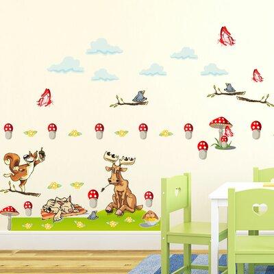 Graz Design Wandsticker-Set Elche, Vögel, Katze, Pilze