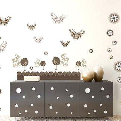Graz Design Wandsticker-Set Schmetterlinge, Blumen, Vögel