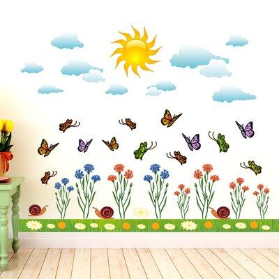 Graz Design Wandsticker-Set Schmetterlinge, Blumen, Wolken