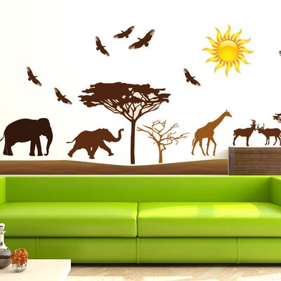 Graz Design Wandsticker-Set Afrika, Giraffen, Vögel, Elefant