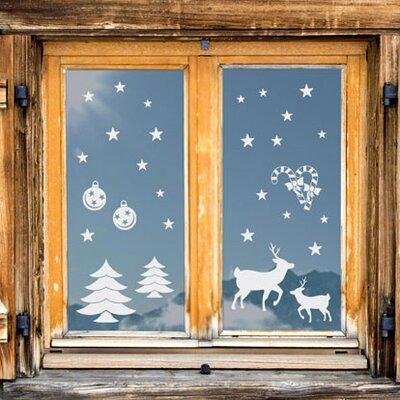 Graz Design Glastattoo Weihnachten, Rentiere, Kugeln