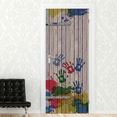 Graz Design Türaufkleber Holztür mit Handabdrücken