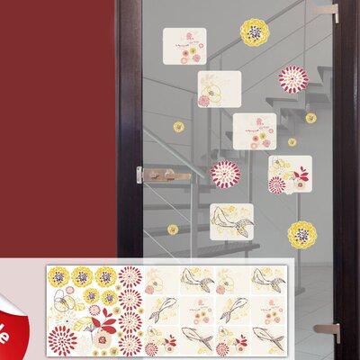 Graz Design Glastattoo-Set Fische, Koy, Blumen