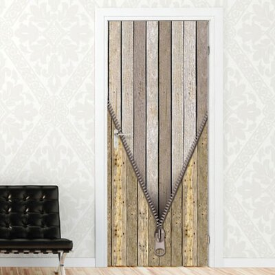 Graz Design Türaufkleber Holztür mit Reißverschluss