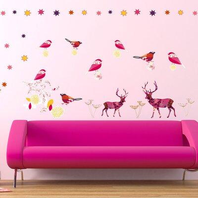 Graz Design Wandsticker-Set Hirsche, Vögel, Muster, Sterne