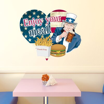 Graz Design Wandsticker Enjoy your meal!, Pommes, Burger