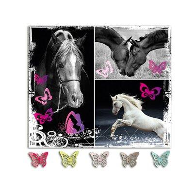 Graz Design Garderobenhaken Pferde, Schmetterlinge