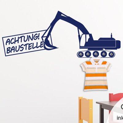 Graz Design Garderobenhaken Achtung Baustelle, Bagger