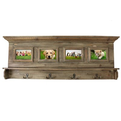 Antiqued Handcrafted Family Album Picture Frame Coat Rack