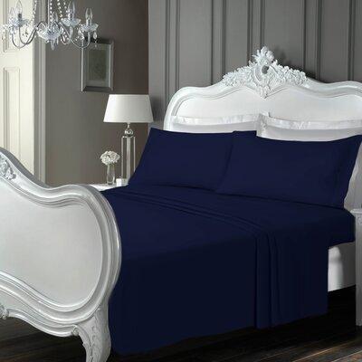 Claytor Luxury Soft Plain Sheet Set Size: Full, Color: Navy Blue