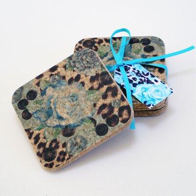 Decorque Rose and Skin Print 10.5cm Heat-Resistant Cork Coasters
