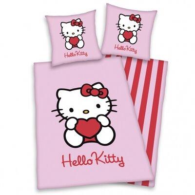 Herding Heimtextil Bettwäsche-Set Hello Kitty aus 100% Baumwolle (Flanell)
