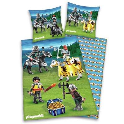 Herding Heimtextil Bettwäsche-Set Playmobil Ritter aus  100% Baumwolle (Linon)