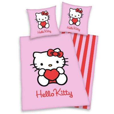 Herding Heimtextil Bettwäsche-Set Hello Kitty aus 100% Baumwolle (Linon)