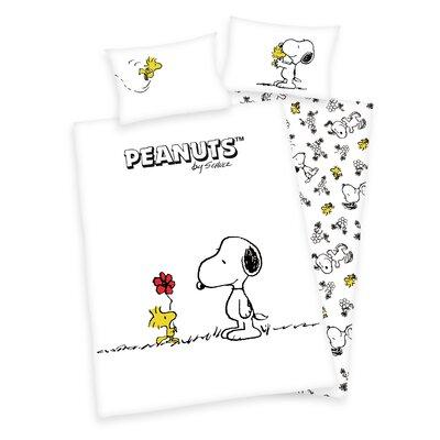 Herding Heimtextil Bettwäsche-Set Peanuts mit Knopfverschluss aus Baumwolle