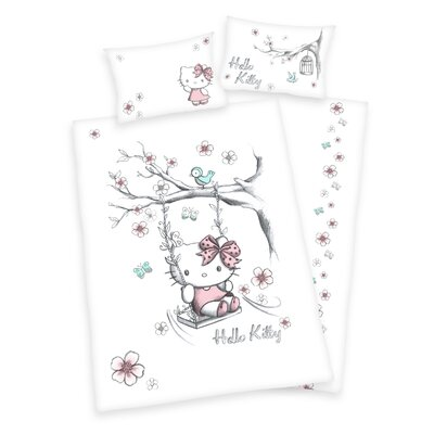 Herding Heimtextil Bettwäsche-Set Hello Kitty mit Knopfverschluss aus Baumwolle