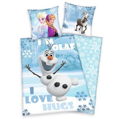 Herding Heimtextil Bettwäsche-Set Disney's die Eiskönigin Olaf mit Knopfverschluss aus Baumwolle