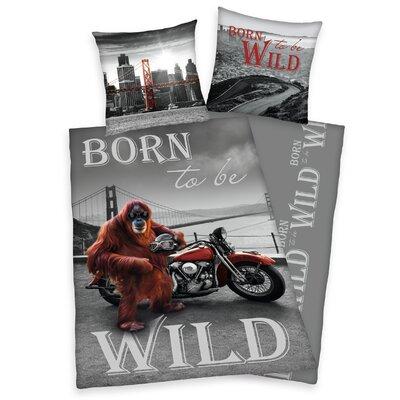 Herding Heimtextil Bettwäsche-Set Young Collection Born to be wild mit Reißverschluss aus Baumwolle