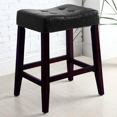 """Lyndale Saddle 24"""" Bar Stool Upholstery: Black"""