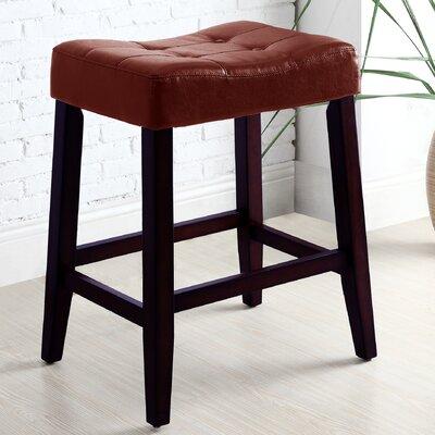 "Lyndale Saddle 24"" Bar Stool Upholstery: Red"
