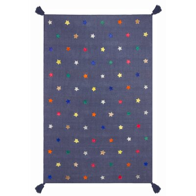 Art for kids Hand-Woven Blue Area Rug