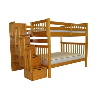 Stairway Full over Full Bunk Bed with Storage Bed Frame Color: Honey