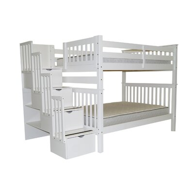 Stairway Full over Full Bunk Bed with Storage Bed Frame Color: White