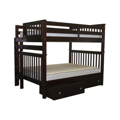 Mission Full over Full Bunk Bed with Storage Bed Frame Color: Cappuccino
