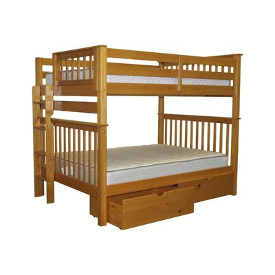 Mission Full over Full Bunk Bed with Storage Bed Frame Color: Honey