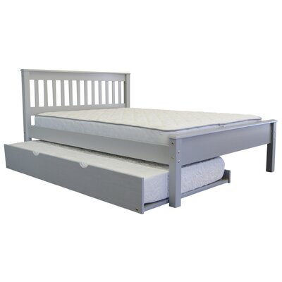 Mission Full Slat Bed with Trundle Bed Frame Color: Gray