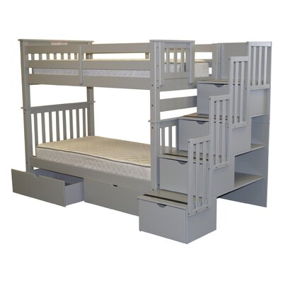 Stairway Tall Twin Over Twin Bunk Bed with Extra Storage Bed Frame Color: Gray