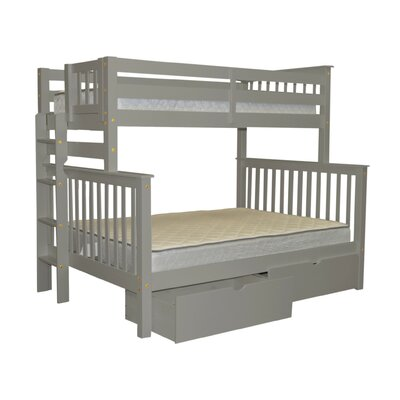 Mission Twin over Full Bunk Bed with Storage Bed Frame Color: Gray