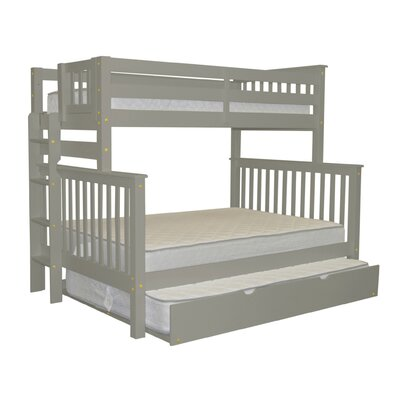 Mission Twin over Full Bunk Bed with Full Trundle Bed Frame Color: Gray