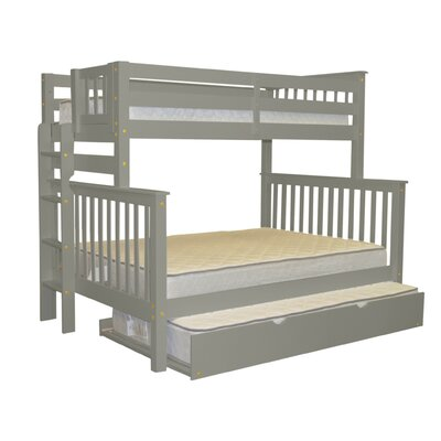 Mission Twin over Full Bunk Bed with Trundle Bed Frame Color: Gray
