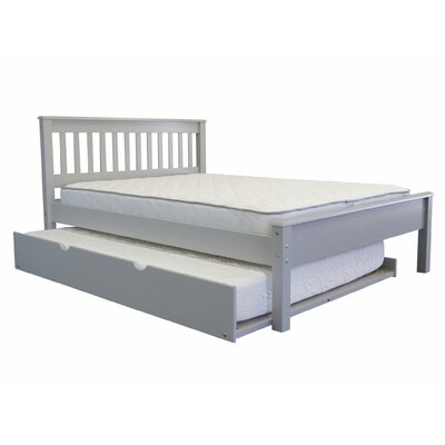 Mission Full Slat Bed with Full Trundle Bed Frame Color: Gray
