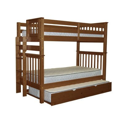 Mission Tall Twin over Twin Bunk Bed with Trundle Bed Frame Color: Espresso