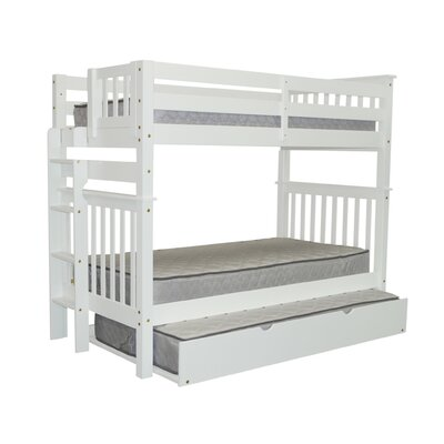 Mission Tall Twin over Twin Bunk Bed with Trundle Bed Frame Color: White