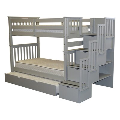 Stairway Tall Twin Over Twin Bed with Trundle Bed Frame Color: Gray