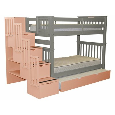 Stairway Tall Twin Over Twin Bed with Trundle Bed Frame Color: Gray/Pink