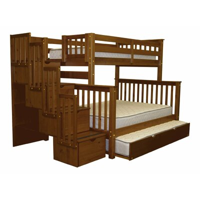 Stairway Twin over Full Bunk Bed with Trundle Bed Frame Color: Espresso