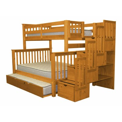 Stairway Twin over Full Bunk Bed with Trundle Bed Frame Color: Honey
