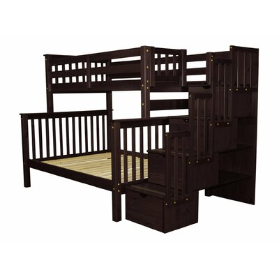 Stairway Twin over Full Bunk Bed with Trundle Bed Frame Color: Cappuccino
