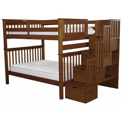 Stairway Full over Full Bunk Bed with Storage Bed Frame Color: Espresso