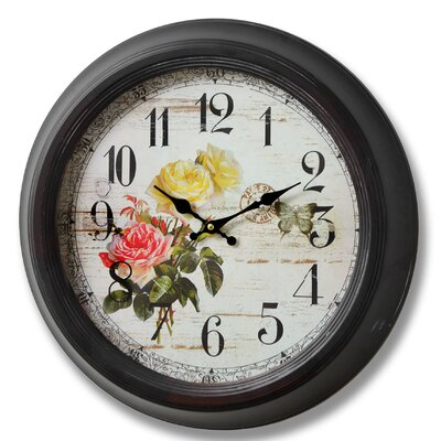 Hill Interiors 47cm Rose and Butterfly Wall Clock