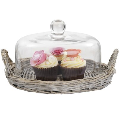 Hill Interiors 30cm Wicker Tray with Glass Dome